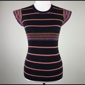 Trina Turk Black Rainbow Striped Sweater Size XS